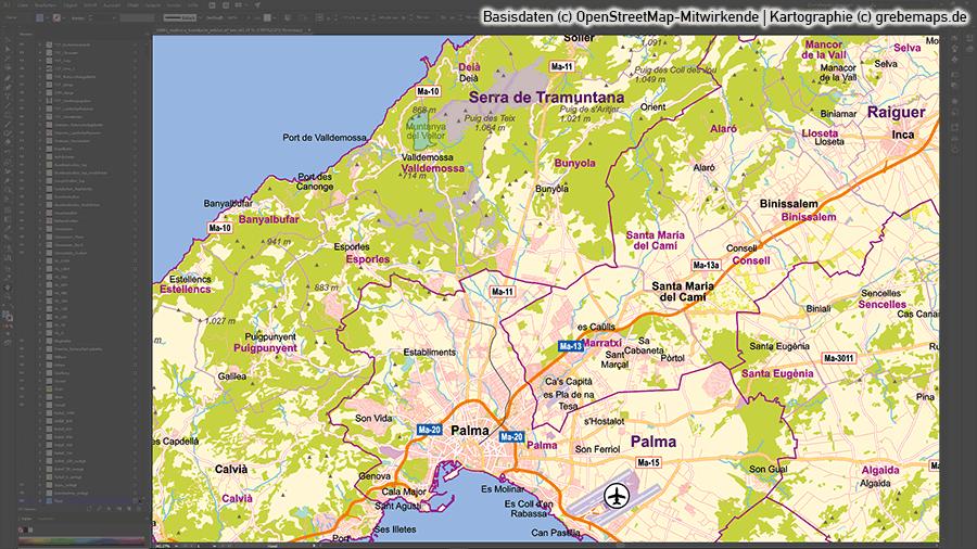 Karte Mallorca, Vektorkarte Mallorca, Inselkarte Mallorca, Übersichtskarte Mallorca, Basiskarte Mallorca, Karte Mallorca für touristische Zwecke, Karte Vektor Mallorca