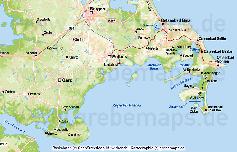 Karte Rügen, Inselkarte Rügen, Karte Rügen Vektor, Karte Rügen Höhenschichten, Karte Rügen physisch, Übersichtskarte Rügen, Karte Rügen für Print
