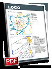 Anfahrtsskizze erstellen, Anfahrtsskizzen erstellen, Anfahrtskizze erstellen, Anfahrtsplan erstellen, Lageplan erstellen, Wegbeschreibung erstellen, PDF-Layout