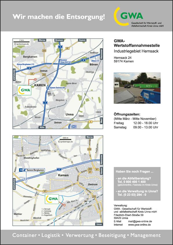 Karten Kamen-Hemsack (GWA)