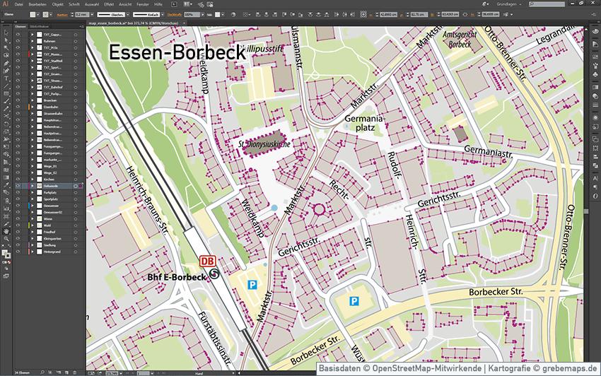 Essen-Borbeck Stadtkarte, Stadtplan Essen-Borbeck Übersicht, Karte Essen-Borbeck, Illustrator AI-Datei, Vektorformat, Vektorgrafik, vector map, Kartengrafik, Vektor, AI, Illustrator, Karte für Flyer, Print, Druck, Karte aus OpenStreetMap-Daten extrahiert und kartographisch aufbereitet, touristische Karte