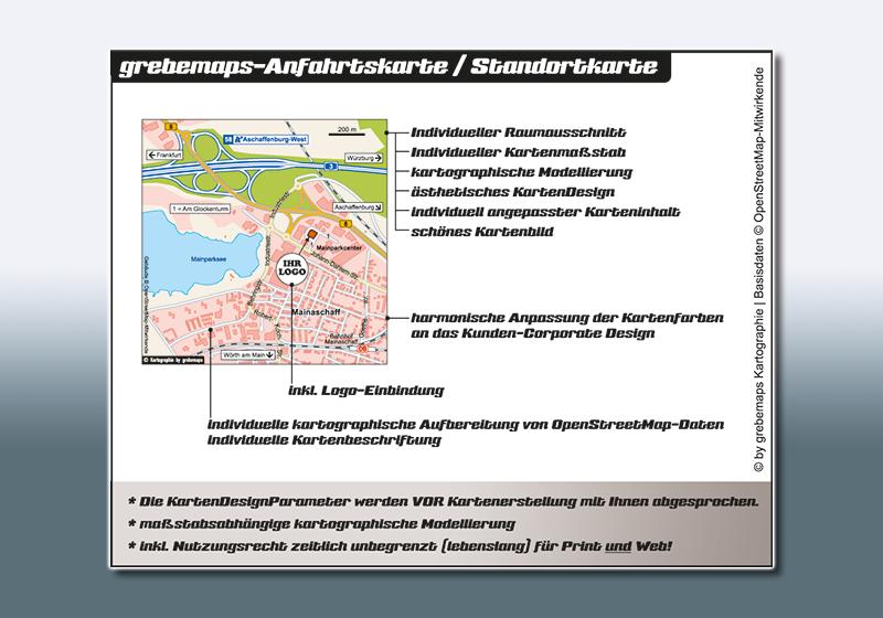 Anfahrtskarte erstellen, Anfahrtsskizze erstellen, Anfahrtsplan erstellen, Wegespinne, Wegekarte, Lageplan, Straßenkarte, erstellen, anfertigen, Einbindung von kostenlosen OpenStreetMap-Daten, Kartografie, Wegbeschreibung erstellen, Kartographie, Visualisierung, Infokarte, Kartengrafik, Vektorgrafik
