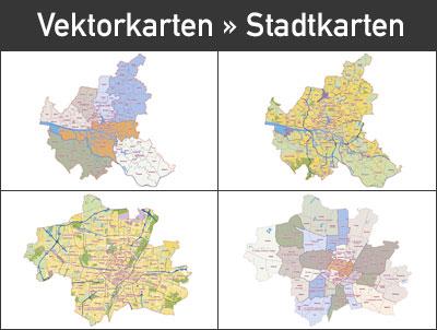 Vektorkarten Stadtkarten, Stadtplan, City Karte, Vector map, München, Hamburg, Berlin, Köln, Düsseldorf, editierbar, skalierbar, Illustrator, AI