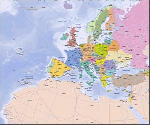 Europakarte flächentreu, kaufen, Download, für Illustrator, AI, Vektor, Vektorkarte Europa