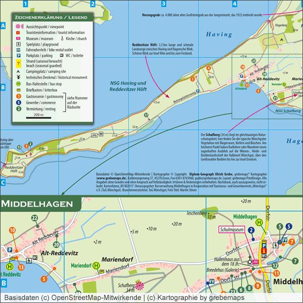 Ortsplan erstellen, Stadtplan erstellen, Stadtplan-Ausschnitt erstellen, Karte für Druck, Print, Flyer, erstellen, Stadtkarte, Stadtplan erstellen, Layout, OpenStreetMap-Daten, aufbereitung, Middelhagen, Rügen