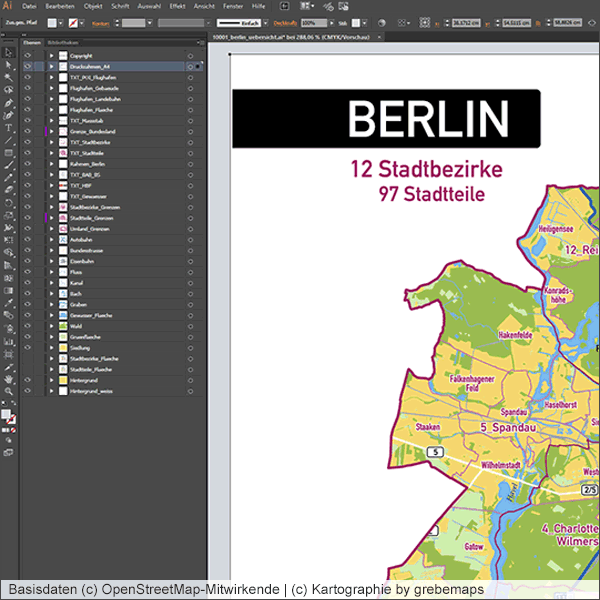 Stadtkarte erstellen, Stadtplan erstellen, Berlin Karte, Stadtkarte Berlin, Landkarte, Ortsplan, Übersichtskarte, Illustrator, Kartengrafik, Vektorgrafik, Vektordaten, Illustrator, PowerPoint