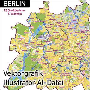 Berlin Stadtkarte, Stadtplan Übersicht, Illustrator AI-Datei, Vektorformat, Vektorgrafik, Kartengrafik, Vektor, AI, Illustrator, Karte aus OpenStreetMap-Daten extrahiert und kartographisch aufbereitet