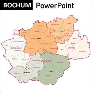 Bochum Stadtkarte, Bezirke, Stadtteile, Bochum, Stadtplan Übersicht, PowerPoint, Vektorformat, Vektorgrafik, Kartengrafik, Vektor, Karte aus OpenStreetMap-Daten extrahiert und kartographisch aufbereitet