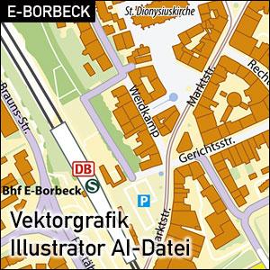 Essen-Borbeck Stadtkarte, Stadtplan Essen-Borbeck Übersicht, Illustrator AI-Datei, Vektorformat, Vektorgrafik, Kartengrafik, Vektor, AI, Illustrator, Karte aus OpenStreetMap-Daten extrahiert und kartographisch aufbereitet