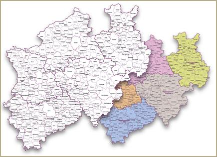 administrative Karte NRW, Gemeindegrenzenkarte NRW, Vektor, Illustrator, AI, Vektorkarte NRW