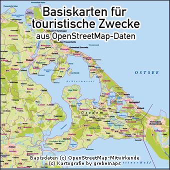 Basiskarten für touristische Zwecke, Karte Usedom für touristische Zwecke