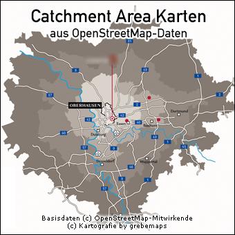 Catchment Area Karte erstellen aus OpenStreetMap-Daten für Shopping-Center-Standorte