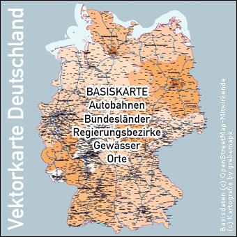 Vektorkarte Deutschland Basiskarte Autobahnen Bundesländer Regierungsbezirke Orte Städte