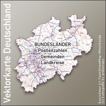 Vektorkarte Deutschland Bundeslankarten Postleitzahlen Gemeinden Landkreise