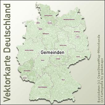 Vektorkarte Deutschland Gemeinden, Karte Gemeinden Deutschland