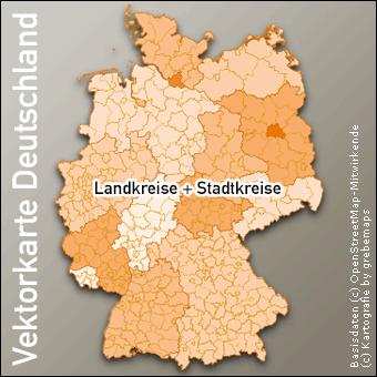 Vektorkarte Deutschland Landkreise, Karte Deutschland Landkreise
