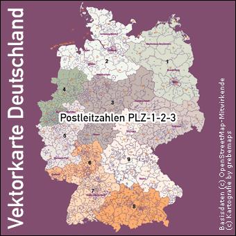 Vektorkarte Deutschland Postleitzahlen PLZ-1-2-3 1-2-3-stellig, Karte Deutschland PLZ 1-2-3