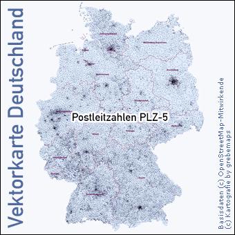 Vektorkarte Deutschland Postleitzahlen PLZ-5 5-stellig, Karte Deutschland PLZ 5