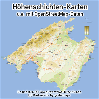 Höhenschichten-Karten, physische Karten, Karte mit Höhenschichten, Karte mit Höhenlinien