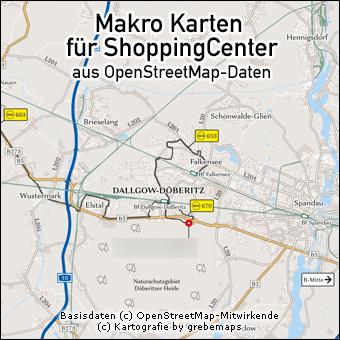 Makro-Karte erstellen aus OpenStreetMap-Daten für ShoppingCenter, Erreichbarkeitskarte erstellen, Umgebungskarte erstellen
