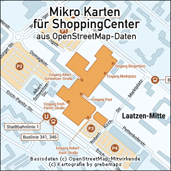 Mikro-Karte erstellen aus OpenStreetMap-Daten für ShoppingCenter, Standortkarte erstellen, Situationskarte erstellen, Lageplan erstellen für ShoppingCenter