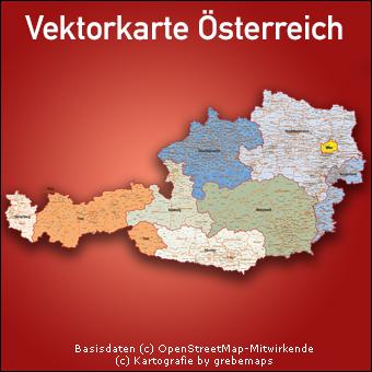 Vektorkarte Österreich Austria Bundesländer Gemeinden Bezirke, Karte Österreiche Bezirke Gemeinden