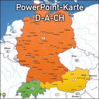Vektorkarte PowerPoint D-A-CH Deutschland Austria Österreich Schweiz