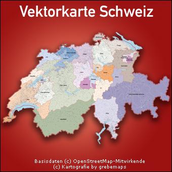 Vektorkarte Schweiz Kantone Gemeinden, Karte Schweiz Kantone Gemeinden
