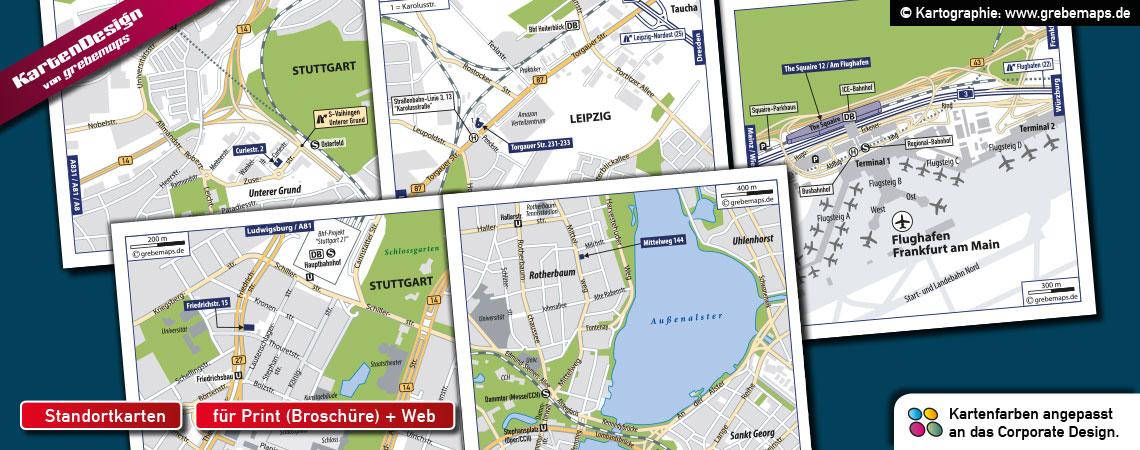 Karten für Immobilien / ShoppingCenter, Lageplan, Standortkarte