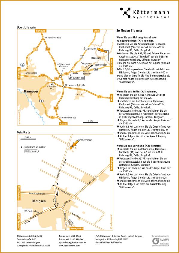 Wegbeschreibung erstellen Karte Uetze