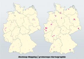 Punktekarte, Punktedichtekarte, Desktop Mapping, DesktopMapping, Geo-Analyse, Mapping, Kartographie, Thematische Kartografie, Daten-Aufbereitung, Daten-Analyse, Daten-Visualisierung, Thematische Karte, Karten, Themakarte, Themakarten, Standort-Visualisierung, Analyse, Desktop, Mapping, Aufbereitung, Thematische Kartographie