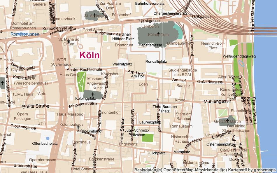 Köln, Ortsplan Erstellen, Stadtplan Erstellen, Karte Aus OpenStreetMap-Daten Erstellen, Freizeitkarte, Touristische Karte, Vektor, Vektorgrafik, AI, Illustrator, Kartengrafik, Karte Für Grafiker, AI-Datei, Touristik-Karte, Stadtkarte, Landkarte Erstellen, Kartografie, Kartographie