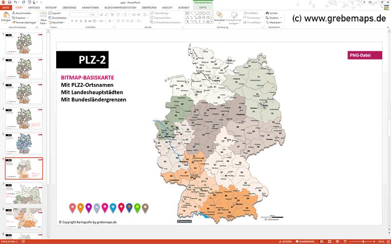 deutschlandkarte mit postleitzahlen plz 2 powerpoint grebemaps kartographie anfahrtsskizzen. Black Bedroom Furniture Sets. Home Design Ideas
