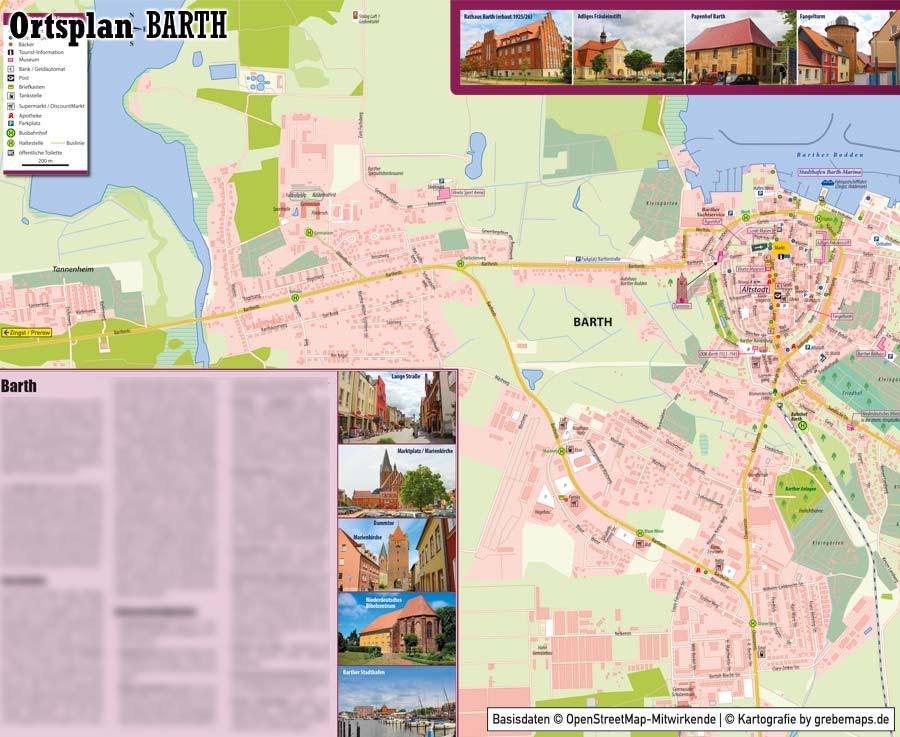 Ortsplan erstellen, Ortsplan Barth, Stadtplan erstellen, Ortsplan erstellen aus kostenlosen OpenStreetMap-Daten, Basiskarte, Kartografie erstellen, Kartographie erstellen, Karte für Illustrator erstellen, Vektorkarte, Vektografik, Kartengrafik, Vektordaten, Ortsplan, Stadtplan, Landkarte erstellen, touristische Karte erstellen, Karte für Tourismus