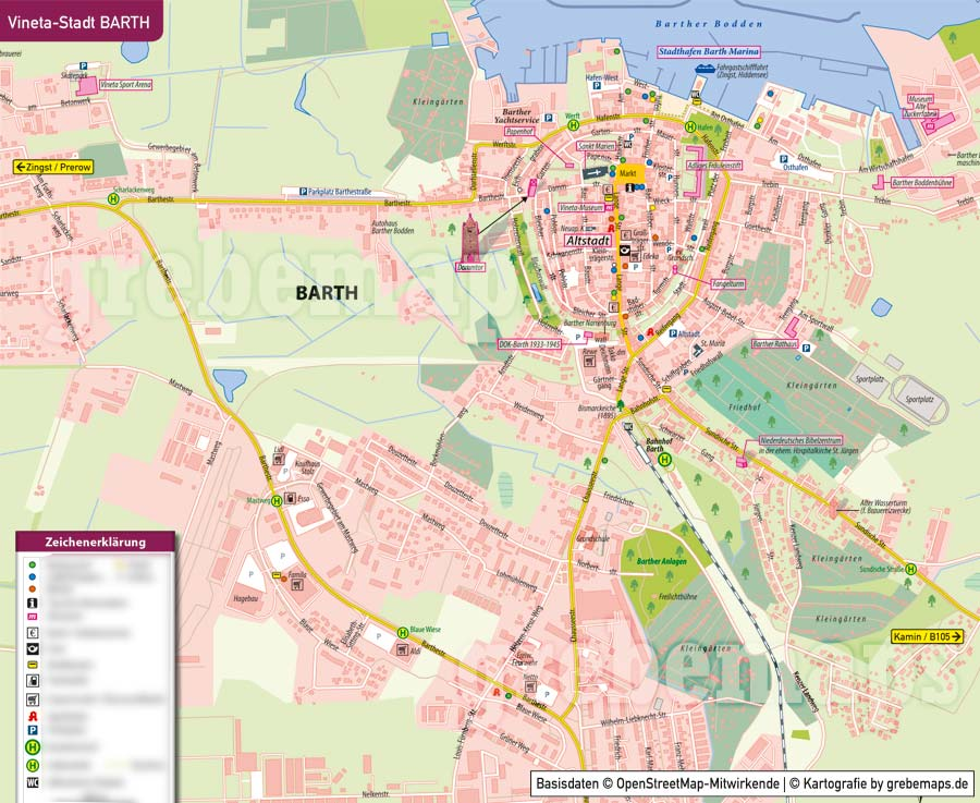 Ortsplan Barth, Ortsplan erstellen, Stadtplan erstellen, Ortsplan erstellen aus kostenlosen OpenStreetMap-Daten, Landkarte erstellen, Karte erstellen, Vektorkarte, Vektorgrafik, Kartengrafik, Karte für Illustrator erstellen, bearbeitbar, editierbar,AI, Datei, Vektor, vector map