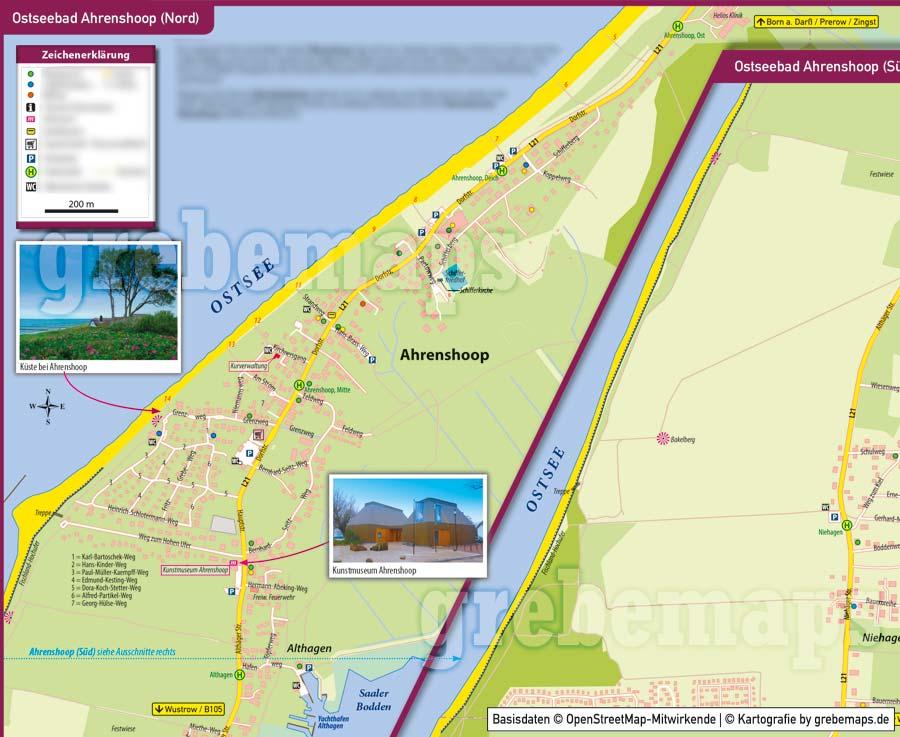 Ortsplan Ahrenshoop, Ortsplan erstellen, Stadtplan erstellen, Ortsplan erstellen aus kostenlosen OpenStreetMap-Daten, Landkarte erstellen, Karte erstellen, Vektorkarte, Vektorgrafik, Kartengrafik, Karte für Illustrator erstellen, bearbeitbar, editierbar,AI, Datei, Vektor, vector map