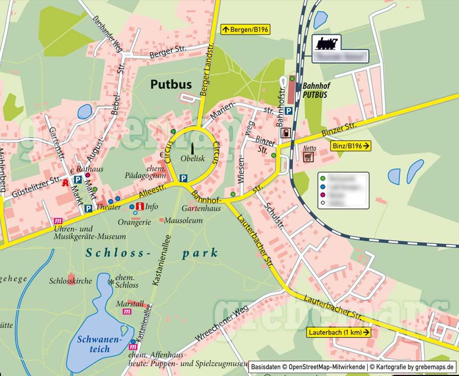 Ortsplan Putbus, Ortsplan erstellen, Stadtplan erstellen, Ortsplan erstellen aus kostenlosen OpenStreetMap-Daten, Landkarte erstellen, Karte erstellen, Vektorkarte, Vektorgrafik, Kartengrafik, Karte für Illustrator erstellen, bearbeitbar, editierbar,AI, Datei, Vektor, vector map