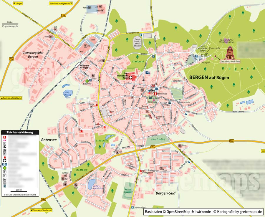 Ortsplan Bergen auf Rügen, Ortsplan erstellen, Stadtplan erstellen, Ortsplan erstellen aus kostenlosen OpenStreetMap-Daten, Landkarte erstellen, Karte erstellen, Vektorkarte, Vektorgrafik, Kartengrafik, Karte für Illustrator erstellen, bearbeitbar, editierbar,AI, Datei, Vektor, vector map
