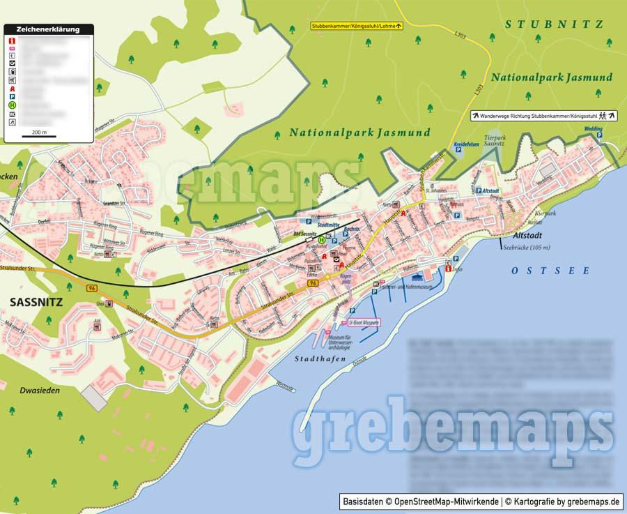 Ortsplan Sassnitz, Ortsplan erstellen, Stadtplan erstellen, Ortsplan erstellen aus kostenlosen OpenStreetMap-Daten, Landkarte erstellen, Karte erstellen, Vektorkarte, Vektorgrafik, Kartengrafik, Karte für Illustrator erstellen, bearbeitbar, editierbar,AI, Datei, Vektor, vector map