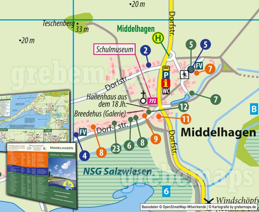 Ortsplan Middelhagen, Ortsplan erstellen, Karte Middelhagen auf Rügen, Vektorkarte, Vektorgrafik, Kartengrafik, Karte aus OpenStreetMap-Daten, Landkarte erstellen, Karte Middelhagen