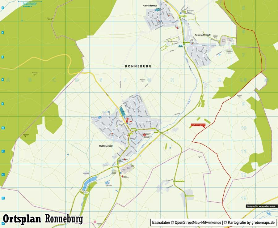 Ortsplan erstellen Ronneburg, Stadtplan erstellen, Landkarte erstellen, Karte erstellen aus OpenStreetMap-Daten, Ortsplan Ronneburg