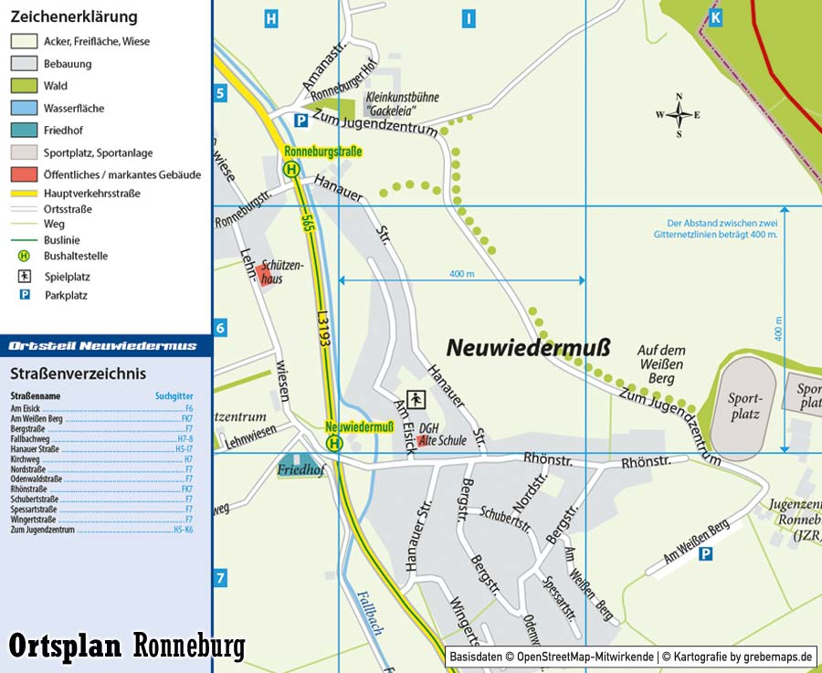 Ortsplan erstellen Ronneburg, Stadtplan erstellen, Landkarte erstellen, Karte erstellen aus OpenStreetMap-Daten, Ortsplan Ronneburg, Ortsteil-Karte