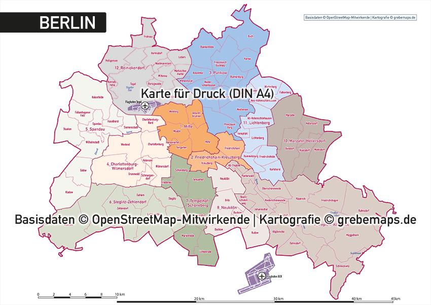 Karte Berlin administrativ