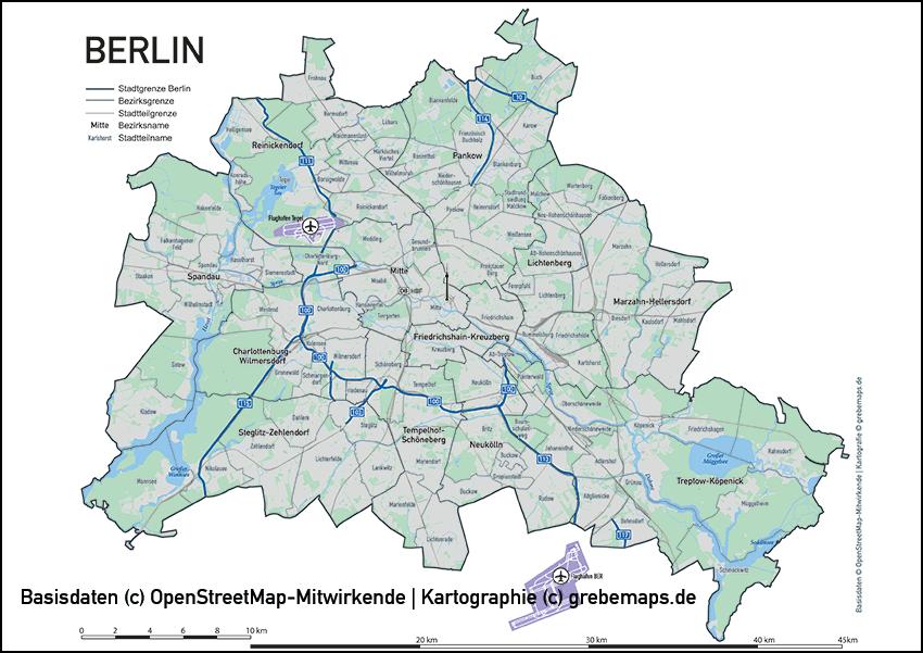 berlin karte stadtteile Karte Berlin Übersicht   grebemaps® Kartographie