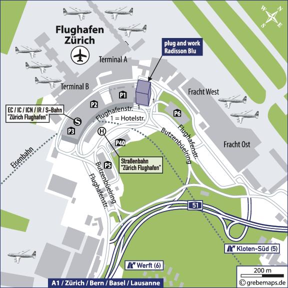 Karte Zürich Flughafen