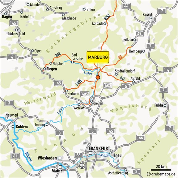 Karte Marburg (Übersicht)