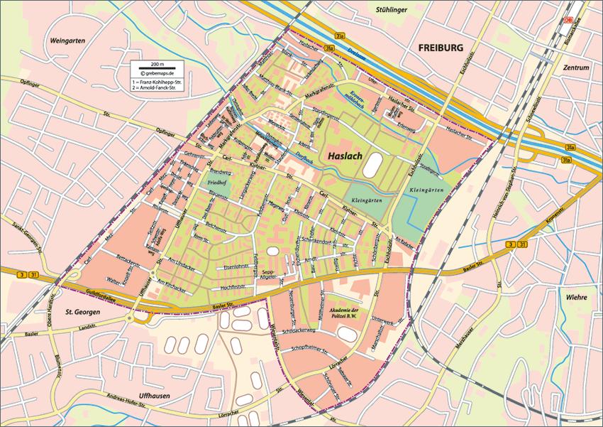 Karte Freiburg-Haslach
