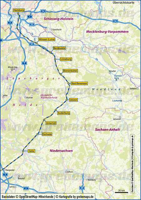 Karte Hamburg – Celle