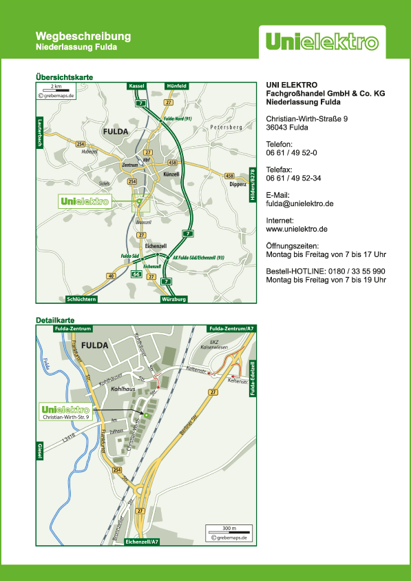 Wegbeschreibung erstellen Karte Fulda (UE)