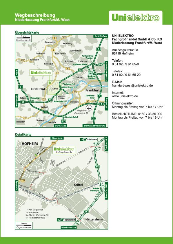 Wegbeschreibung erstellen Karte Hofheim (UE)